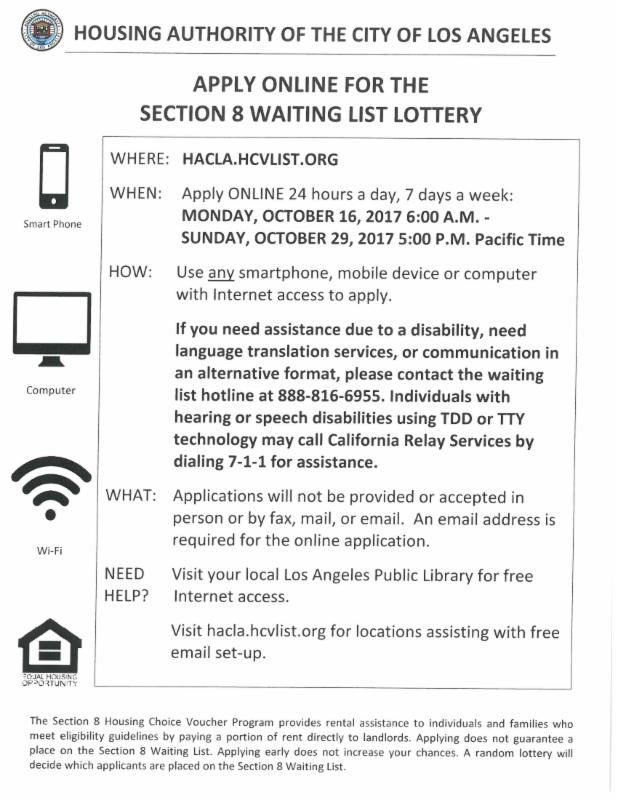 Los Angeles City Section 8 Waiting List to Open October 18