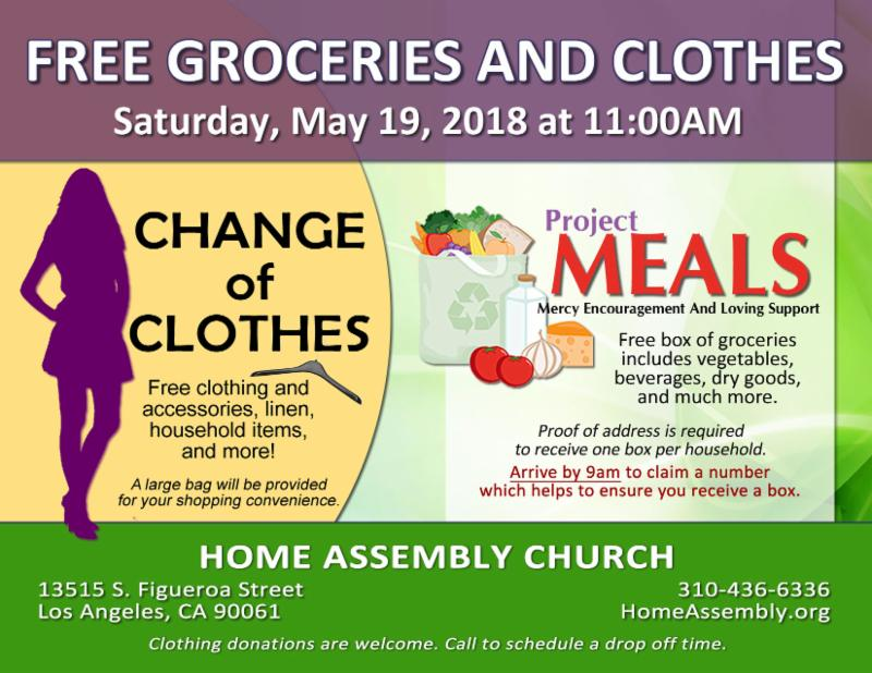 Free groceries and clothes at Home Assembly Church
