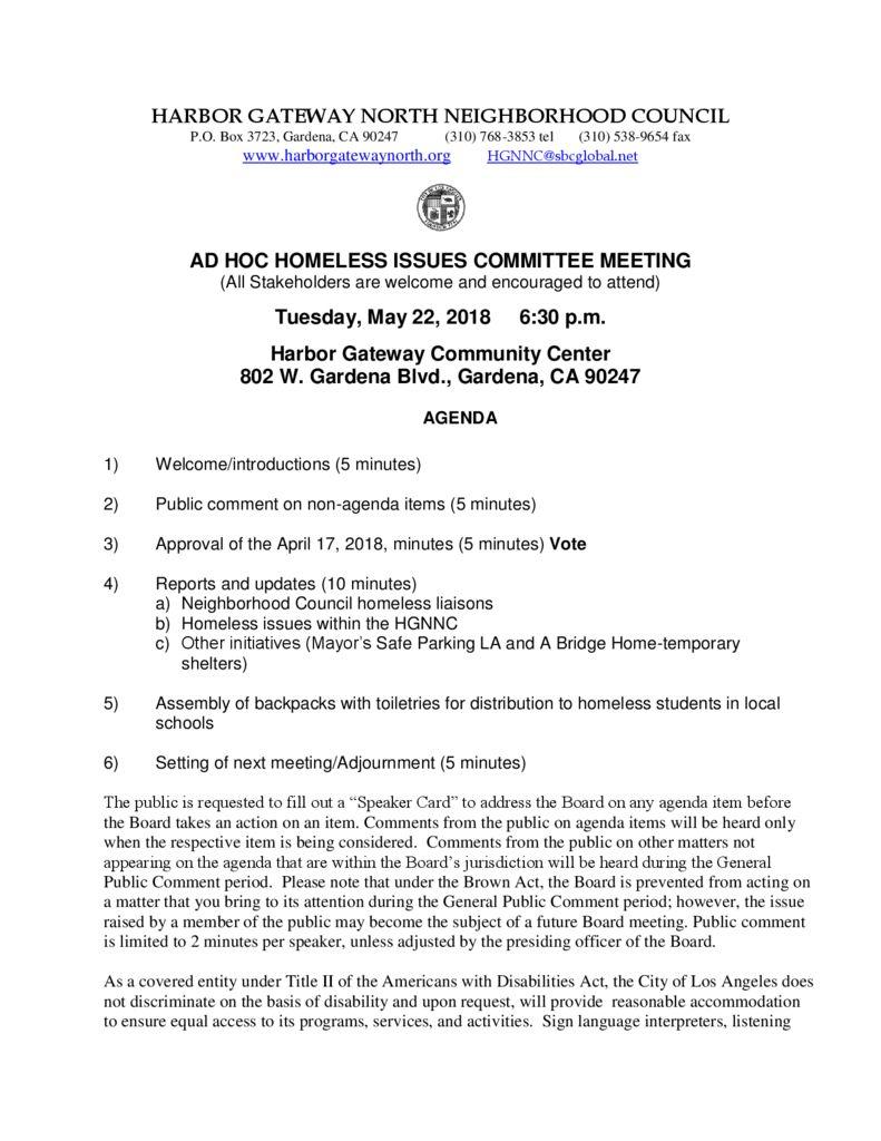 thumbnail of 2018-0522-Homeless-Issues-Agenda