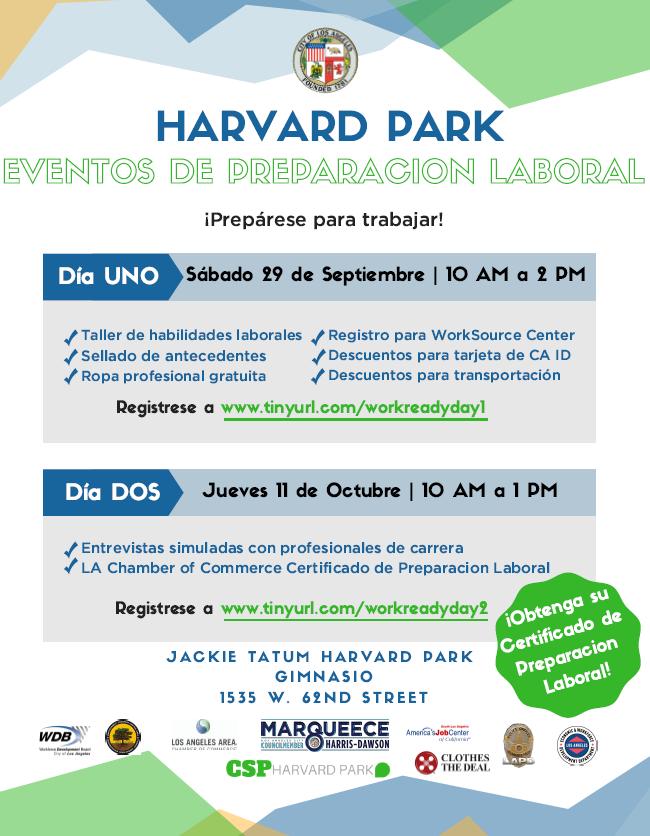 Harvard Park work readiness event in Spanish