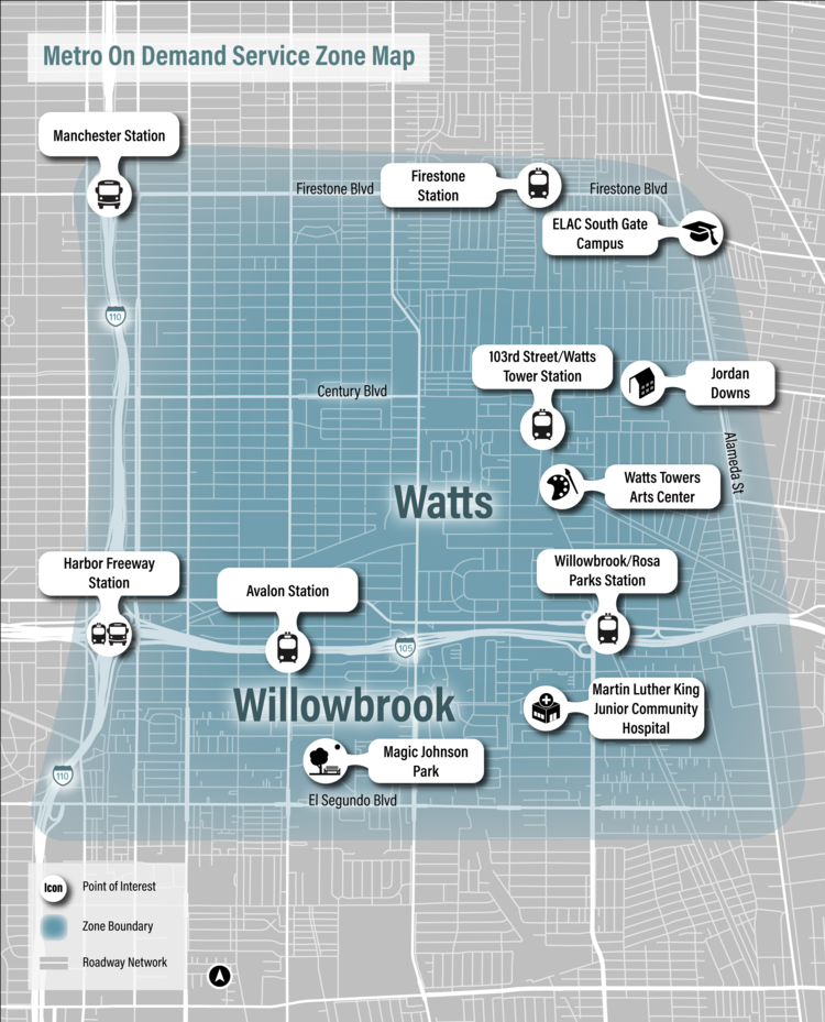 Map of Metro on Demand in Watts & Willowbrook