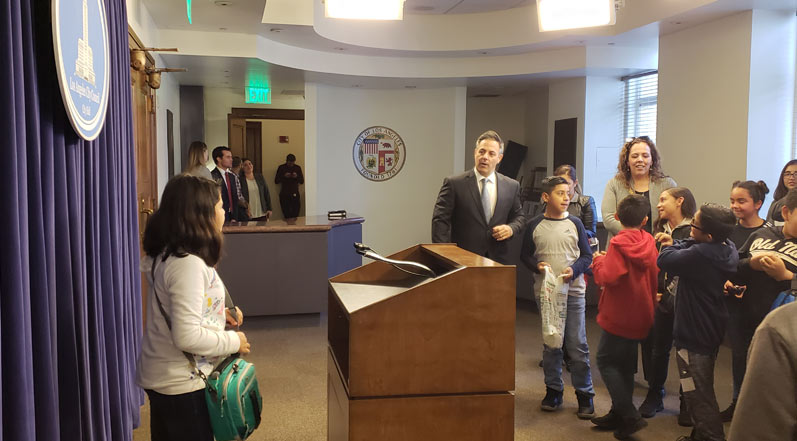 Gardena Elementary Students at City Hall with Buscaino