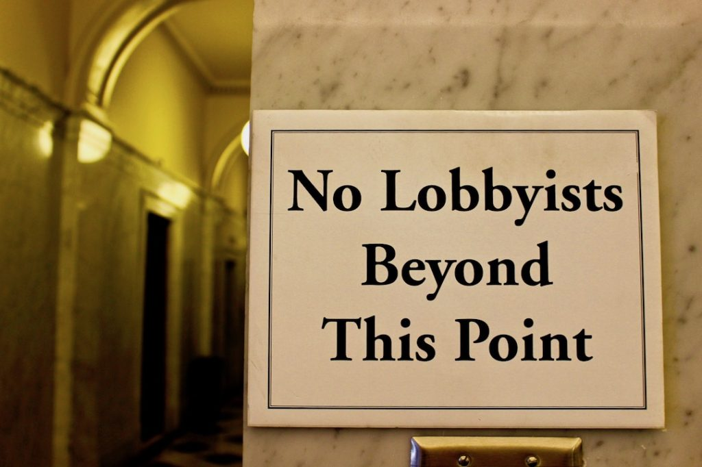 No Lobbyists Beyond This Point sign