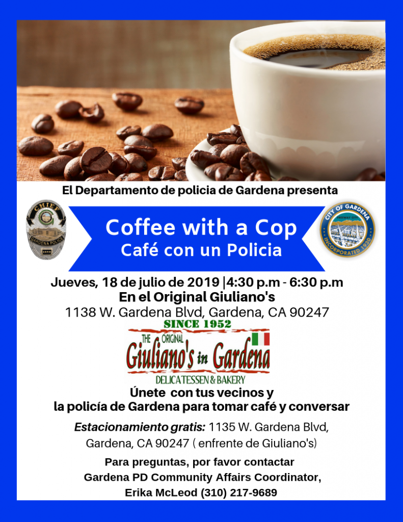 Coffee with a cop in spanish